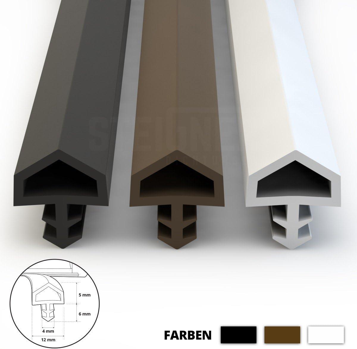 Junta para ventanas contra corrientes de aire junta 5 mm de ancho de ranura 12 mm de pliegue junta Marr/ón 10m
