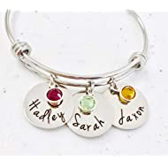 Personalized Bangle Bracelet Mothers Day Birthstone Names