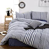 white and blue bedding - Striped Pattern Queen Duvet Cover Set Cotton Blue White Printed Bedding Sets 3 Piece with Zipper Closure Simple Modern Full Bedroom Collections for Winter Autumn