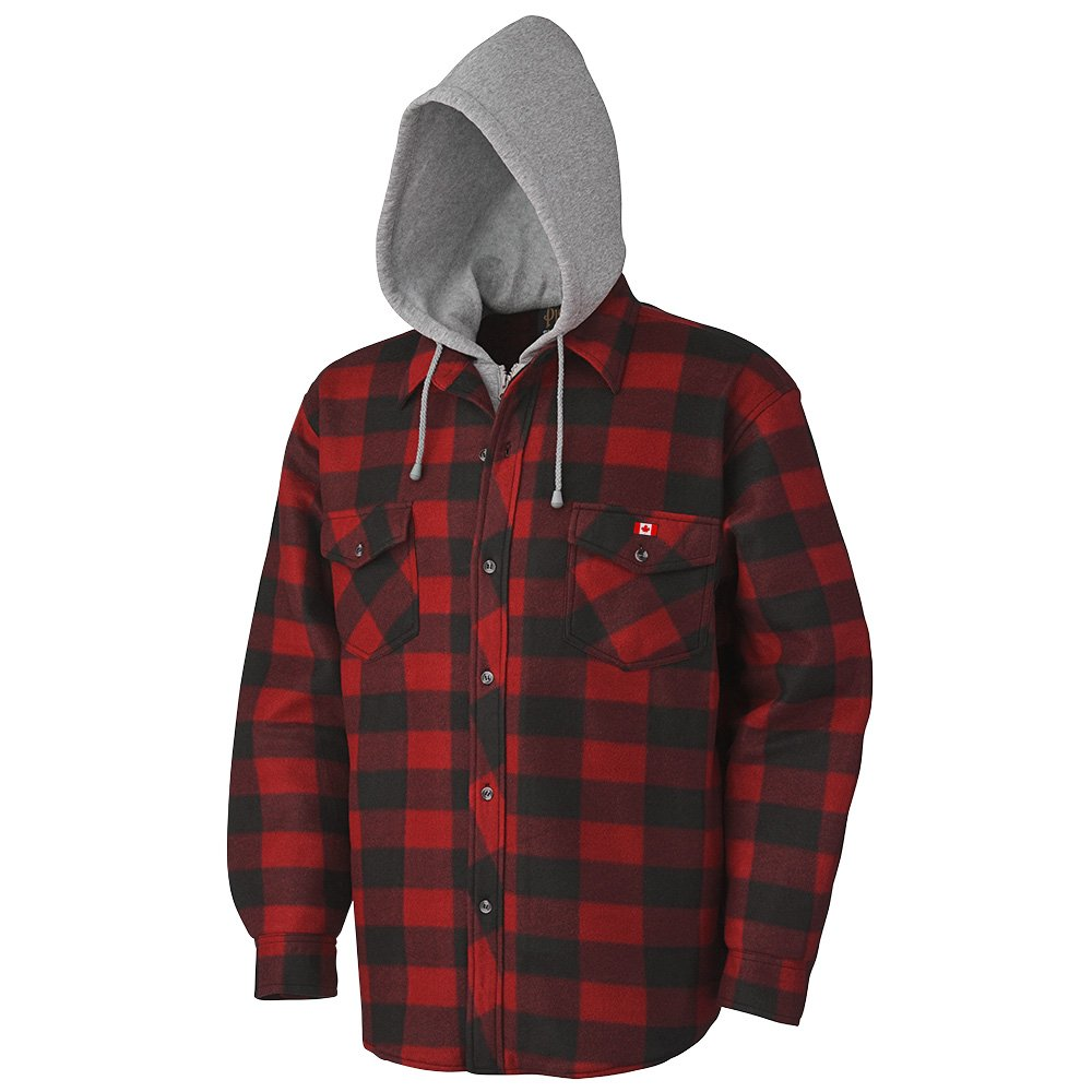 Pioneer V3080397-L Quilted Hooded Polar Fleece Shirt, Red-Black Plaid, L