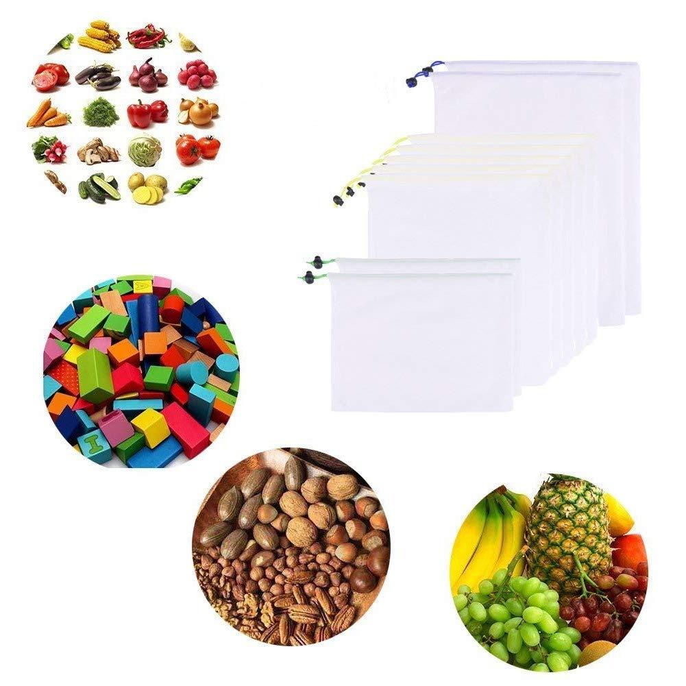 KUPOO 再利用可能な食料品袋 9枚セット 洗えるフルーツ野菜 メッシュバッグ 巾着紐付き ショッピング&収納 3サイズ展開 S M L 9 PCS kupoo-fruit bag01 B07H4L9PP2  9 PCS