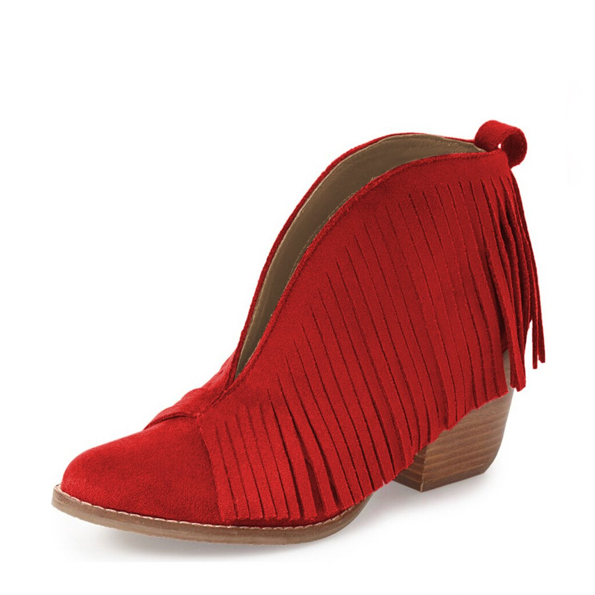 YDN Western Ankle High Boots with Tassels Round Toe Block Heel Suede Retro Booties B01KC29EPC 14 B(M) US|Red
