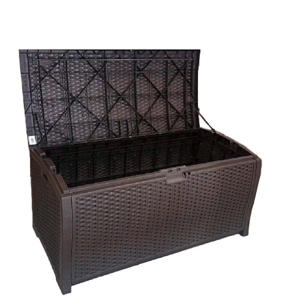 Amazon com outdoor wicker storage box patio furniture large garage kitchen big deck resin basket lock bench container ebook by oistria garden