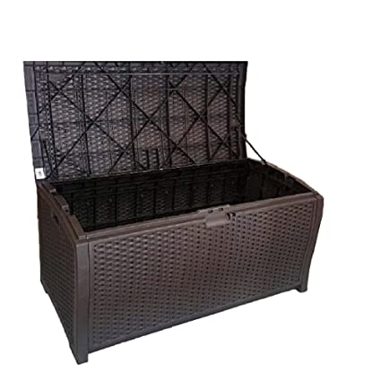 Genial Outdoor Wicker Storage Box Patio Furniture Large Garage Kitchen Big Deck  Resin Basket Lock Bench Container