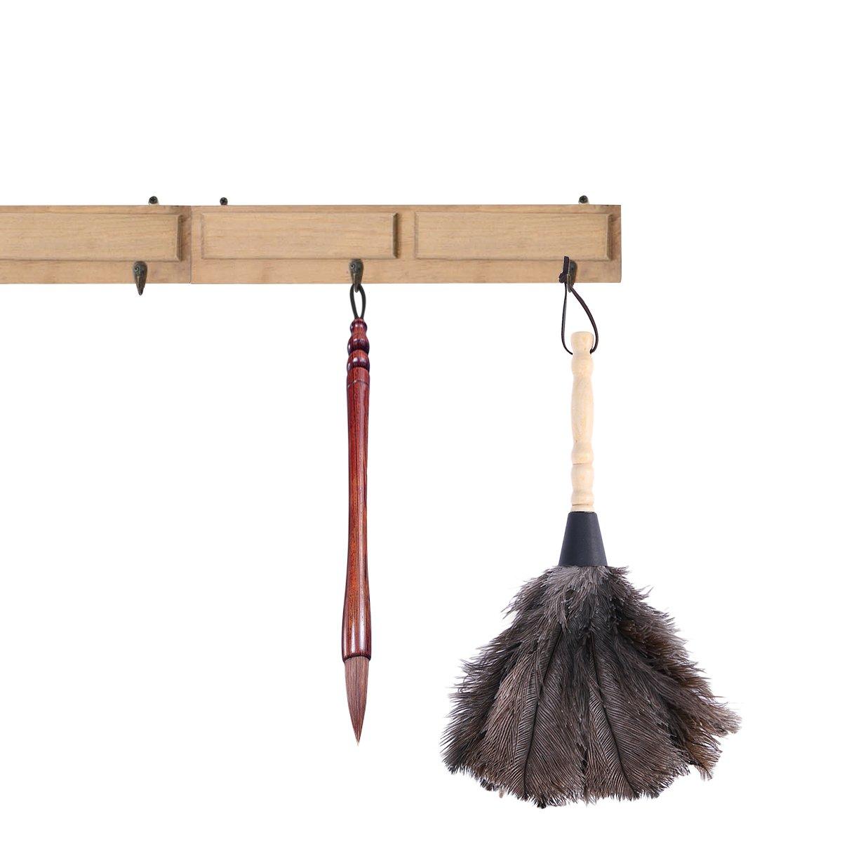 UEETEK Strau/ßenfeder Duster Naturfedern Duster mit Holzgriff Reinigungswerkzeug