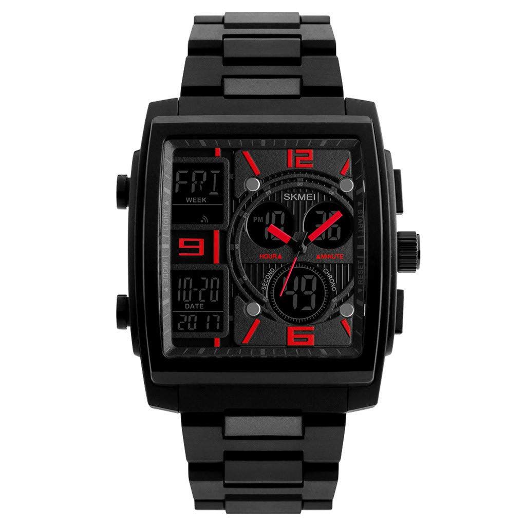 Men's Wrist Watches,Men's Military Rubber Tactical LED Digital Watch Sports Waterproof Analog Quartz(Red)