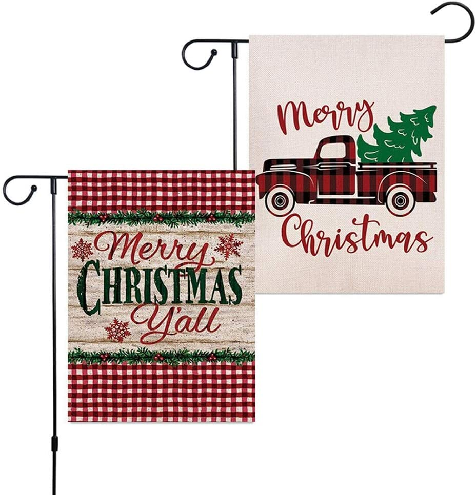 Vanely 2Pcs Merry Christmas Garden Flag Vertical Double Side, Red Truck Buffalo Check Plaid Flag, Xmas Burlap Yard Outdoor Decorations (12 x 18 Inches)