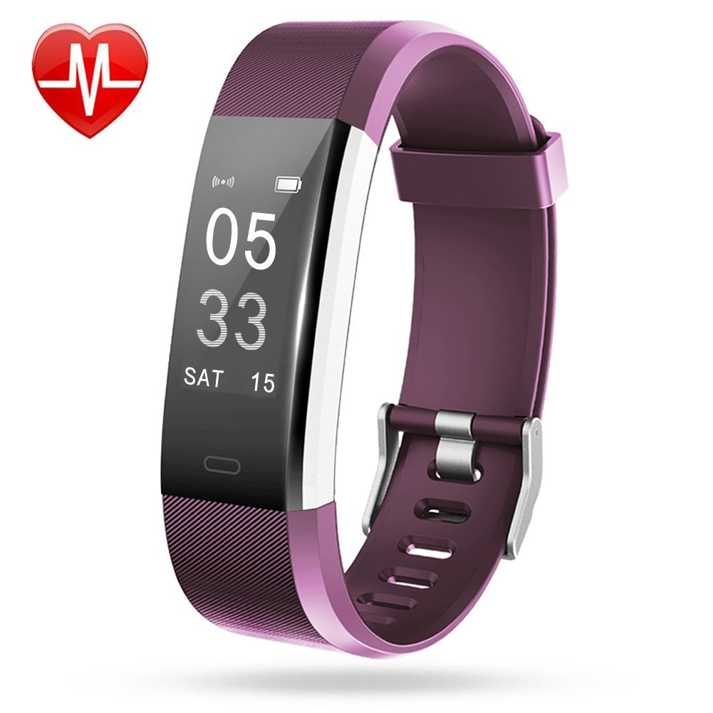 Lintelek Fitness Tracker, Heart Rate Monitor Activity Tracker with Connected GPS Tracker, Step Counter, Sleep Monitor, IP67 Waterproof Pedometer for Android and iOS Smartphone (Violet)