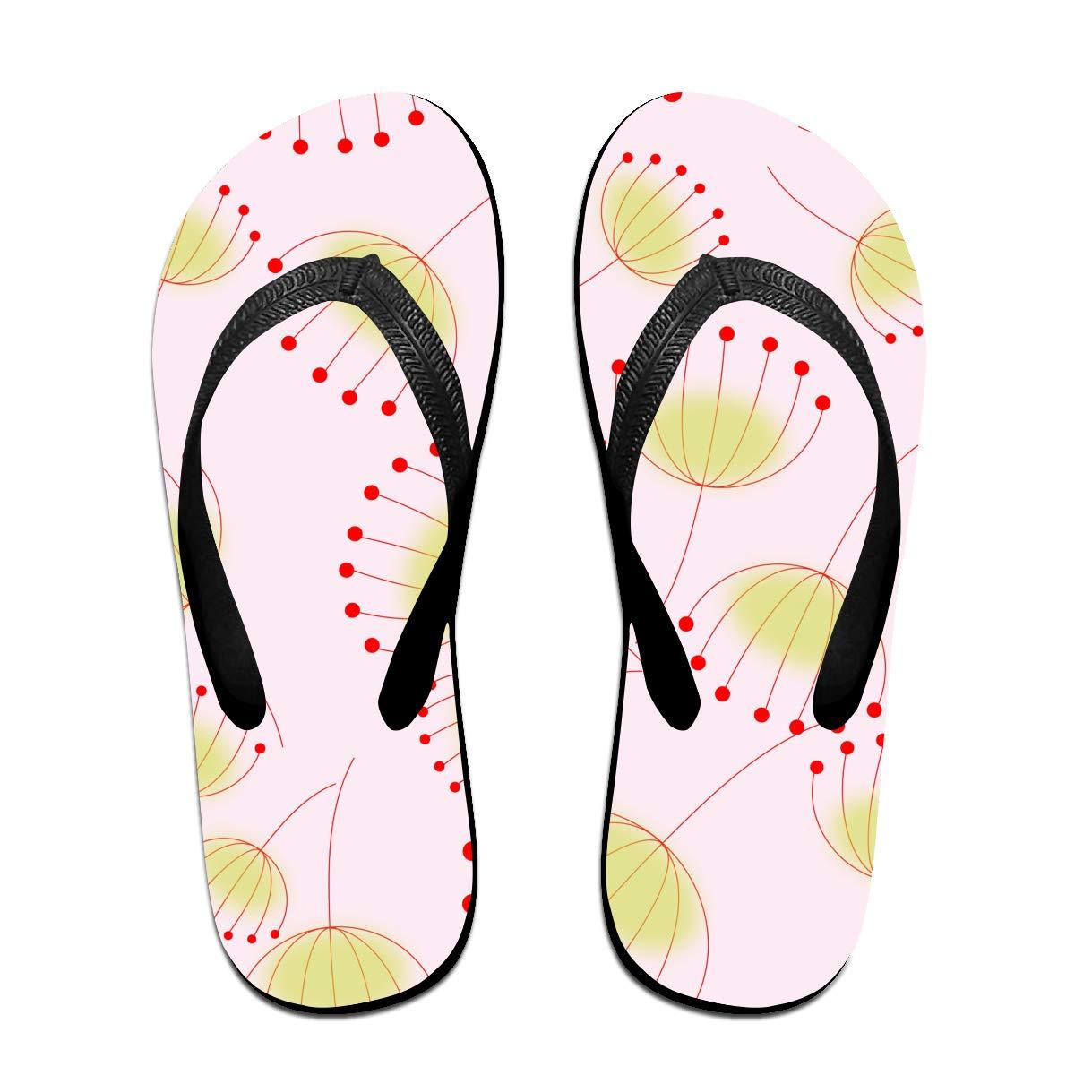 Lojaon Couple Slipper Dandelion Florals Print Flip Flops Unisex Chic Sandals Rubber Non-Slip Spa Thong Slippers