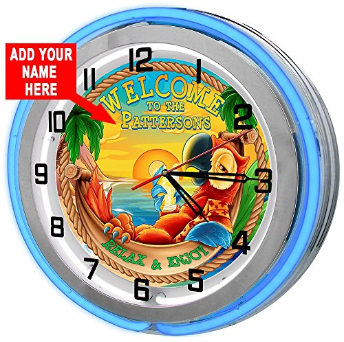 Redeye Laserworks Personalized Tiki Parrot Beach Bar 18 Blue Double Neon Garage Clock from