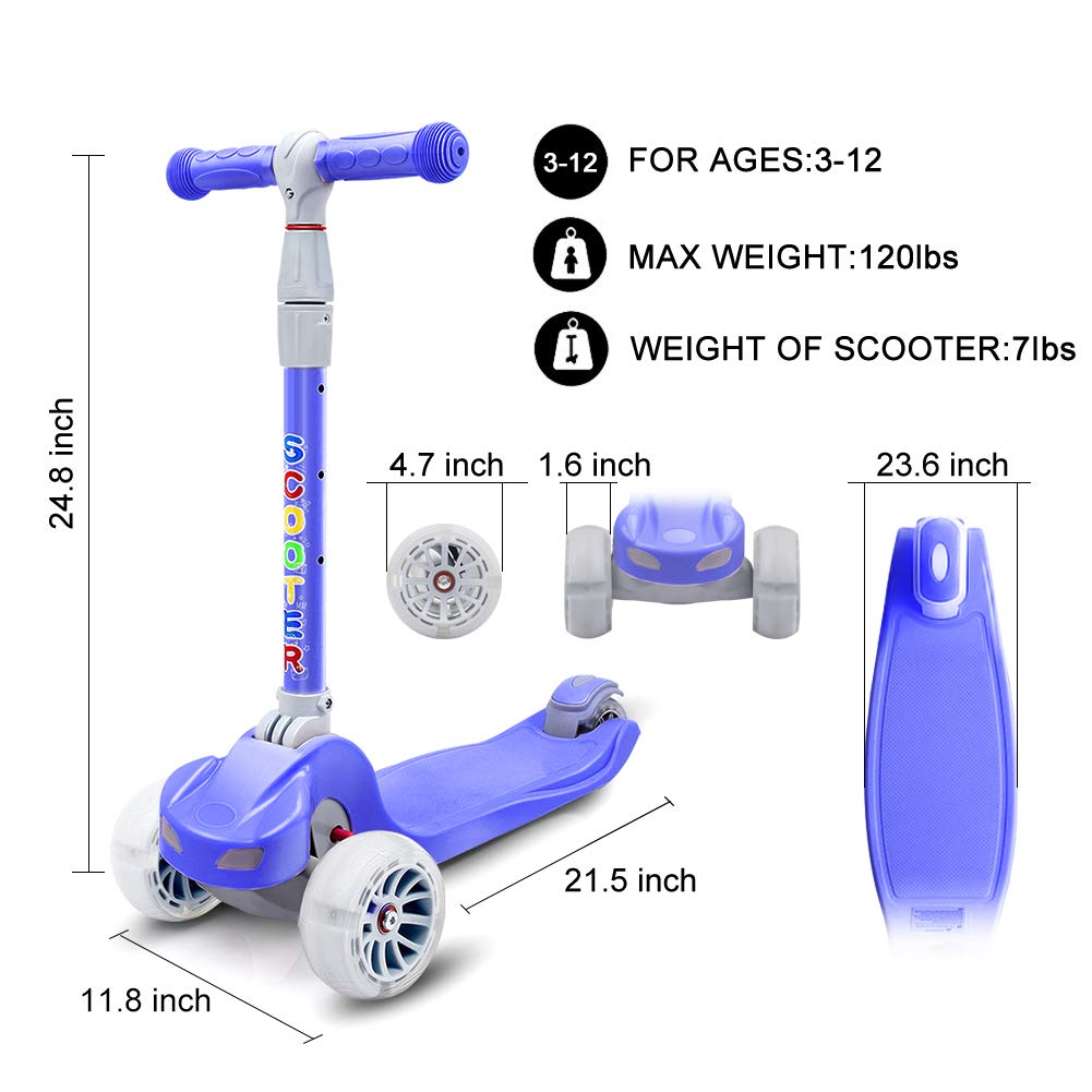 67i Kick Scooter for Kids 3 Wheel Scooter for Toddlers Girls & Boys 4 Adjustable Height Lean to Steer with PU Flashing Wheels for Children from 3 to 12 Years Old (Dark Blue)