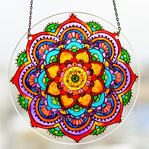 (Window Hanging Suncatcher Colorful Mandala Stained Glass Sun Catcher Circle Hand Painted Mandala Window Decoration)