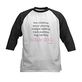amazon cafepress girlie girl baseball jersey kids cotton  amazon cafepress girlie girl baseball jersey kids cotton baseball jersey 3 4 raglan sleeve shirt clothing