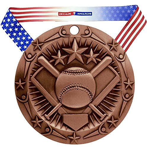 (Decade Awards Softball World Class Medal, Bronze - 3 Inch Wide Slow Pitch Third Place Medallion with Stars and Stripes American Flag V Neck Ribbon)