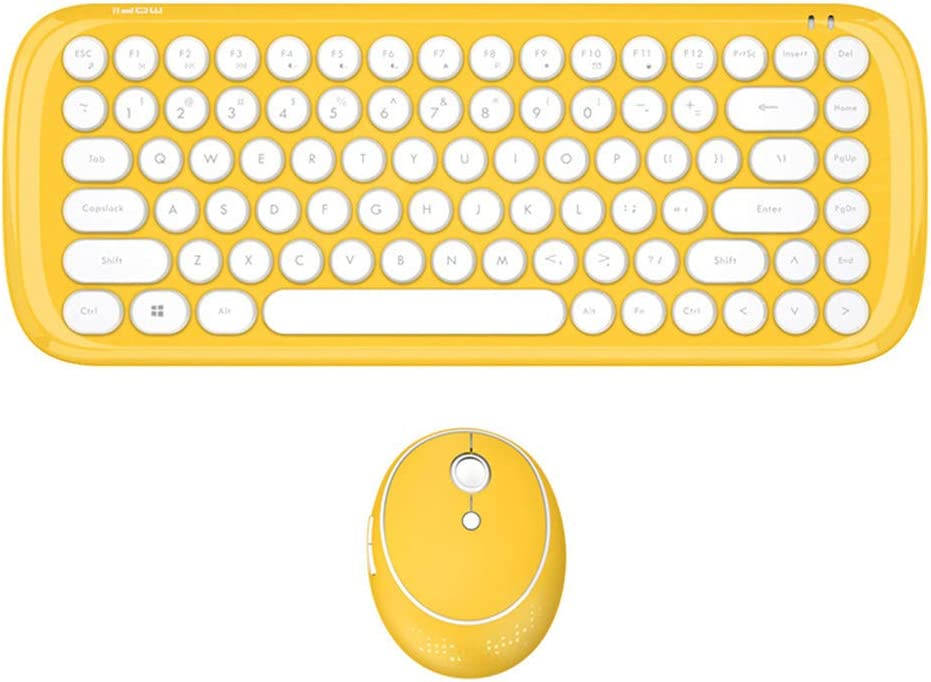 Round Punk Mouse /& Keyboard with Silent Clicking//Noiseless Keys Pink 4 Colors for You to Choose White,Yellow,Green,Pink Magnetion Mini Candy Colored Frosted Wireless Keyboard /& Mouse Combo