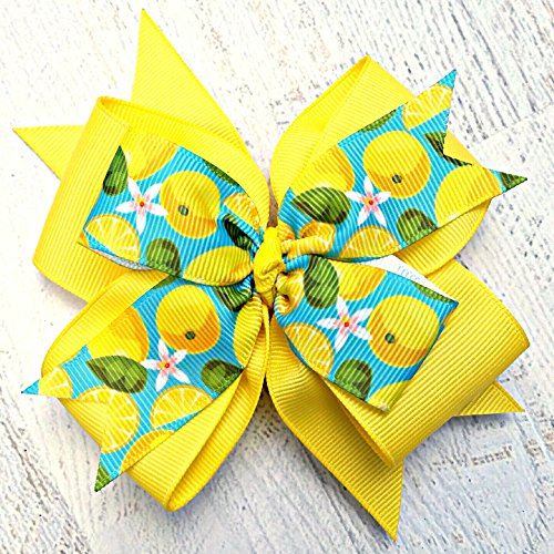 Lemon Yellow and Aqua Retro 50s Style Hair Bow, 4 Inch Layered Boutique Hair Bow, Headband or Hair Clip