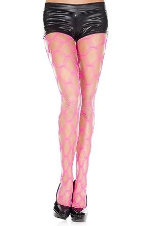 16041ef37290d MUSIC LEGS Women's Multi Strands Big Diamond Net Seamless Spandex  Pantyhose, Hot Pink, One