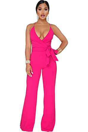049b00607c8b Amazon.com  Gobought Womens V Neck Elegant Jumpsuits Spaghetti Straps Wide  Leg Long Rompers with Belt  Clothing