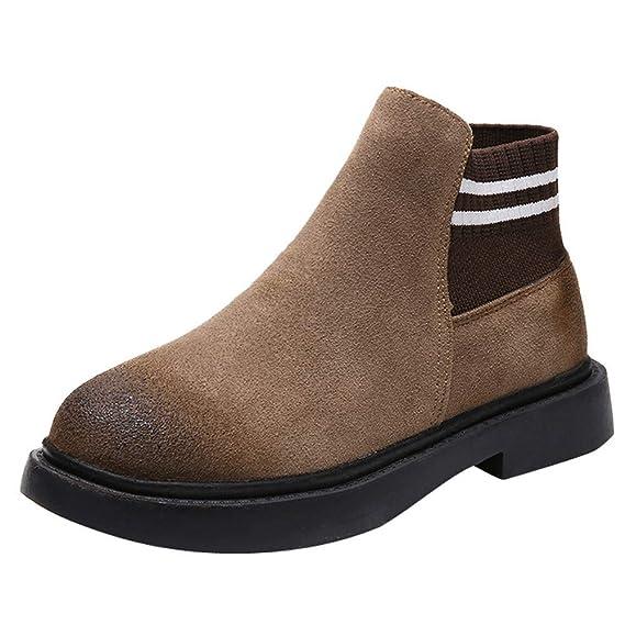 Logobeing Botines Mujer Tacon Planos Zapatos de Punta Redonda Mujer Plataforma Botines Planos Slip-On Gamuza Color Sólido Altas Boots (Marrón, ...