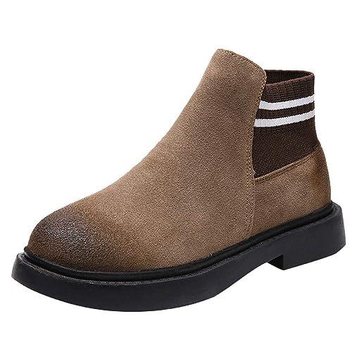 ALIKEEY Las Mujeres Ronda Zapatos De Pie Plano Botines Slip-En Gamuza Sólido Color Martin Botas Verano Negras Seguridad Hombre Trabajo Panter Goodyear ...