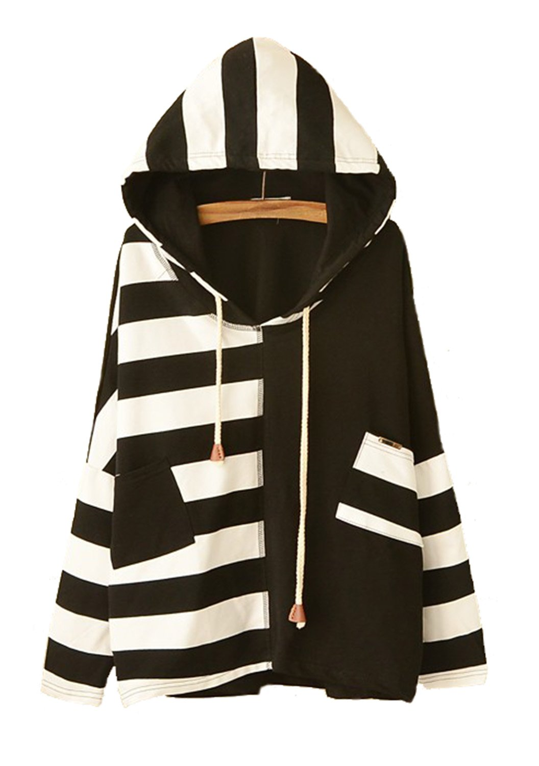 JUNG KOOK Womens SEN Female Cute Japanese Style Loose Long Sleeve Striped Hooded Sweater Black