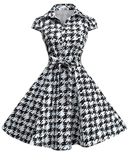 BI.TENCON Women's Elegant Vintage 1950's Black White Houndstooth A-line Dress Plus Size (Vintage Halloween Black And White)