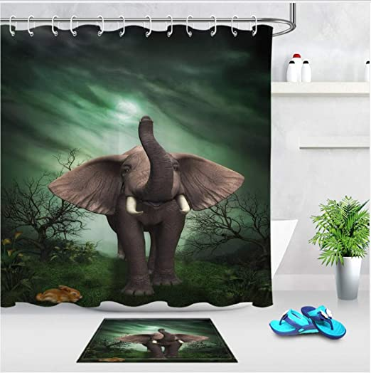 XQWZM 3D Elefante Selva Conjunto Cortina de Ducha Animal Salvaje ...