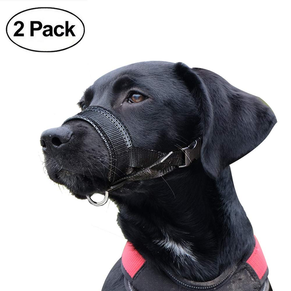 Dog Muzzle, Adjustable Loop with Soft Padding, Nylon Black, (L & XL)
