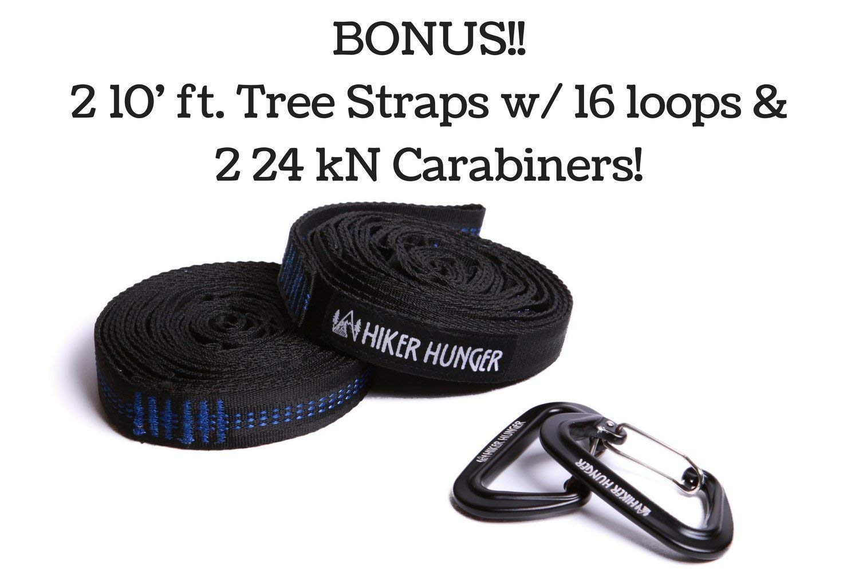 Large Double Size Hiker Hunger Premium Outdoor Hammock Portable /& Ultra Light Portable /& Ultra Light 2 14 Tree Straps