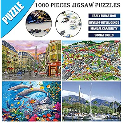 Nevera Puzzles, Landscape Pattern Architecture Puzzles Jigsaw Puzzle 1000 Piece Parents & Kids Home Interesting Toys Game: Clothing