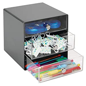 mDesign Plastic Home Office 3 Drawer Cube Storage Organizer - Desktop Organization for Office Supplies, Gel Pens, Pencils, Markers, Tape, Erasers, Paperclips, Chargers - Charcoal, Dark Gray/Clear
