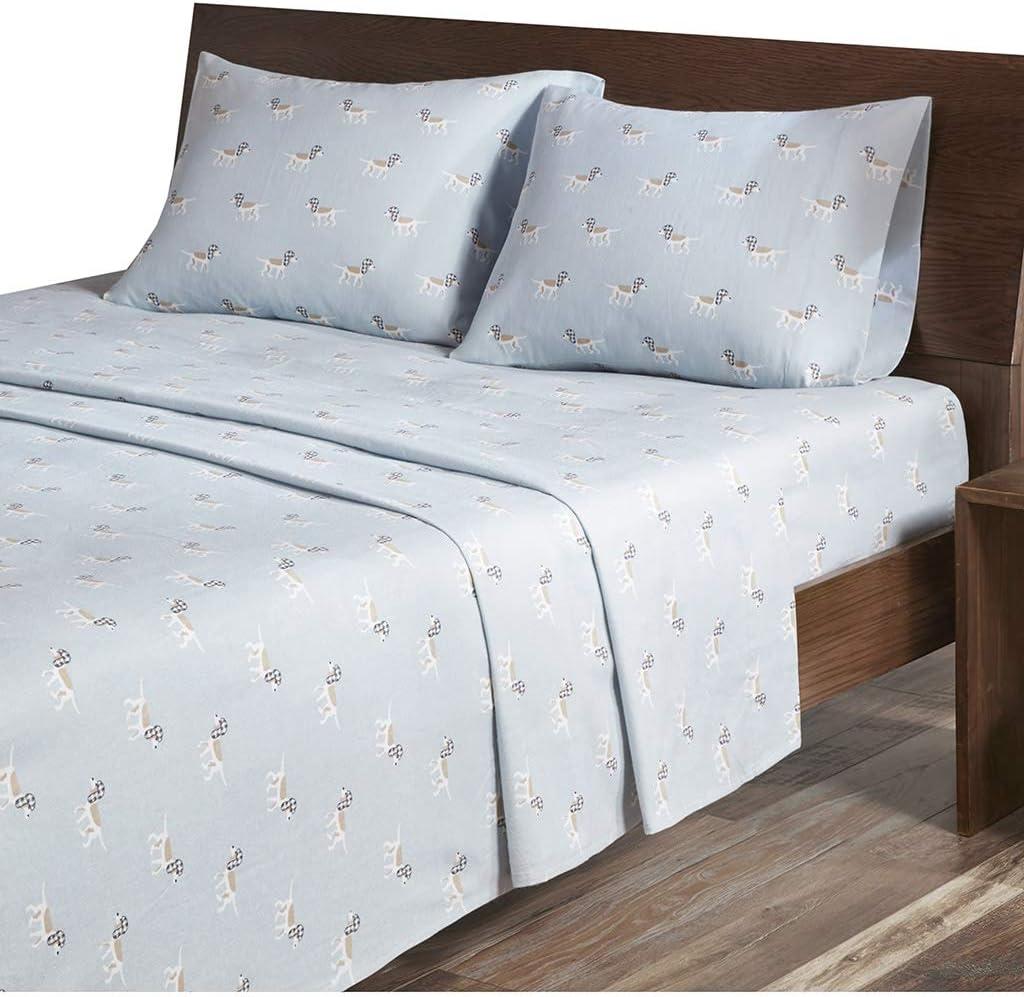 Woolrich Flannel Cotton Sheet Set Blue Dog Queen