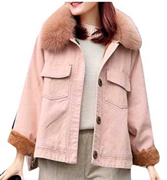 Gaga Women S Fashion Sherpa Lined Denim Jacket With Removable Fur