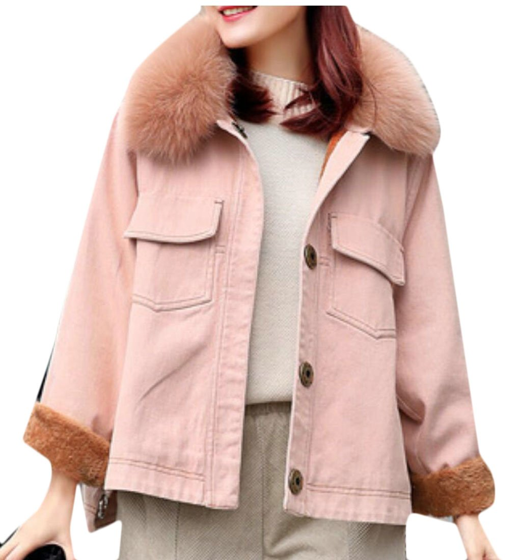 GAGA Women's Fashion Sherpa Lined Denim Jacket With Removable Fur Collar Pink XS by GAGA-women clothes