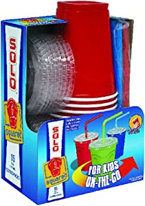 Solo 9 Oz Plastic Cup, Lid, & Straw Combo Pack, 15 Cups, Red
