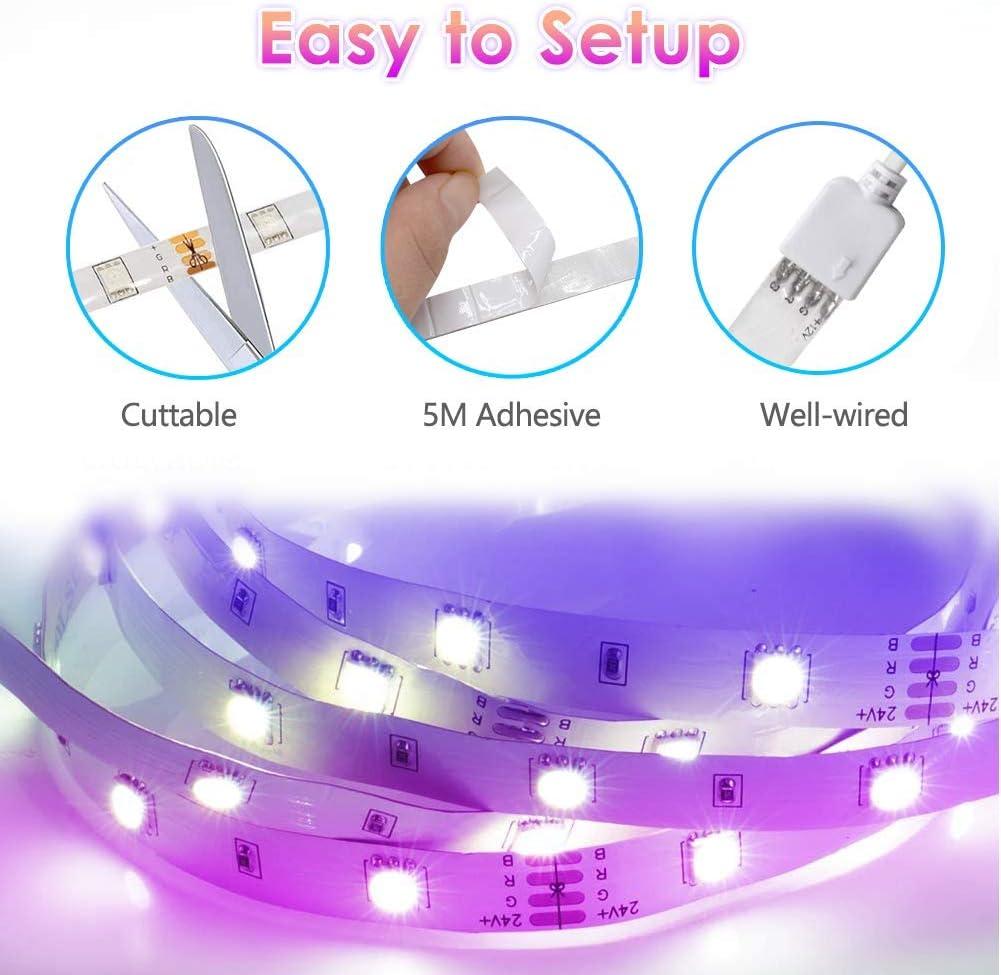 Techo 12V WEILY Bluetooth Luces LED RGB 10M 5050 con Control Remoto Control Tiras LED Dormitorio 150 Tira LED de Brillo y 4 opciones DIY para la Habitaci/ón Clase de eficiencia energ/ética A+++