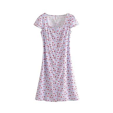 80500da9ce Long Floral Dresses for Women  Harbor Midi Dress Women 2019 Summer Short  Sleeve Square Collar