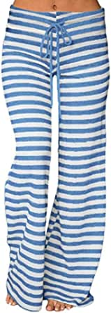 KINDOYO Women's Stripe Yoga Pants,Pilates Pants,Casual Loose Wide Leg Pants Drawstring Trousers