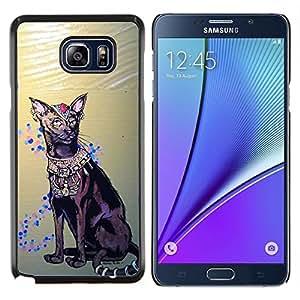 EJOOY---Cubierta de la caja de protección para la piel dura ** Samsung Galaxy Note 5 5th N9200 ** --Arte de La Habana Brown gato egipcio Real