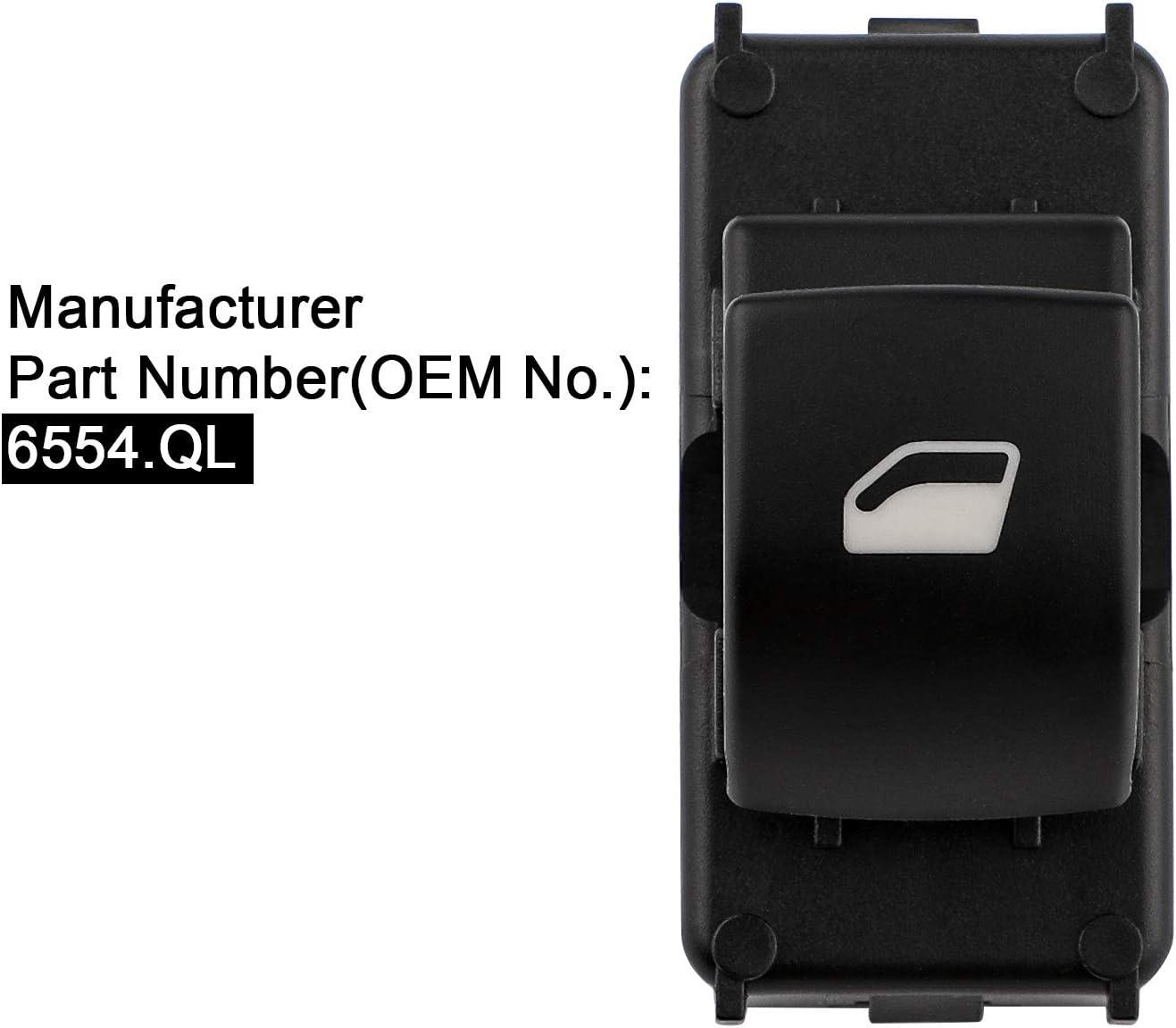 YAOPEI Single Power Window Switch Front Left 6554.QL for C4 Berlingo Partner 207
