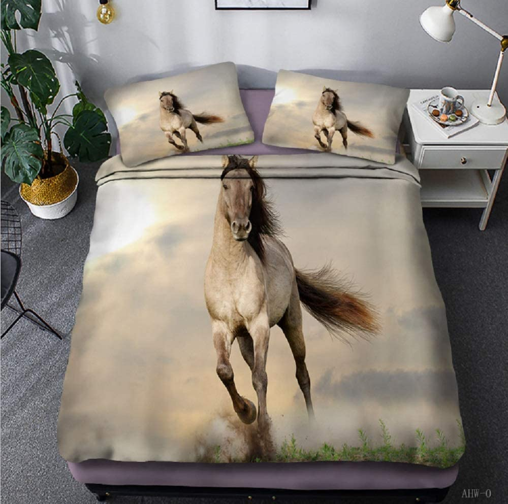 Horse Duvet Cover Queen Wild Horse Decor Bedding Set Horse Printed Comforter Cover Set 3D Animal Theme Duvet Cover Set for Adult Teens Kids Unique Exotic Bedding Set Soft Microfiber Duvet Cover Set