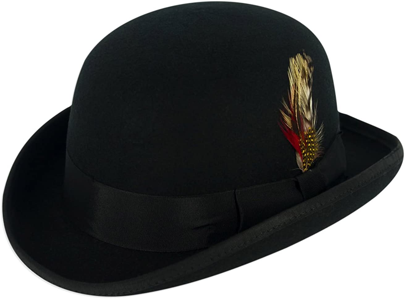 Gamble /& Gunn Chapeau Bowler 100/% feutre de laine noire