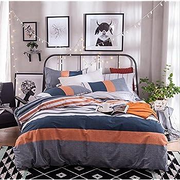 Amazon Com Gray Orange Navy Blue And White Stripe Duvet