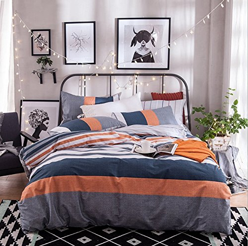 Gray Orange Navy Blue And White Stripe Duvet Cover Sets