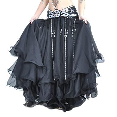 e93b3b15505a Amazon.com: Danzcue 3-Layer Chiffon Belly Dance Full Skirt (Belt not  Included) (Small, Black): Clothing