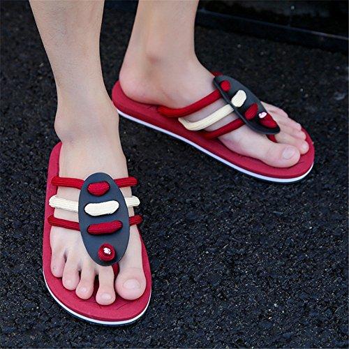 Rojo Rojo Color tamaño Playa Verano 42 Antideslizantes Pantuflas Ocio Respirables Deslizador De EU Hombres Zapatillas De del Los Zapatillas De Wangcui De gqTwxa1Cp