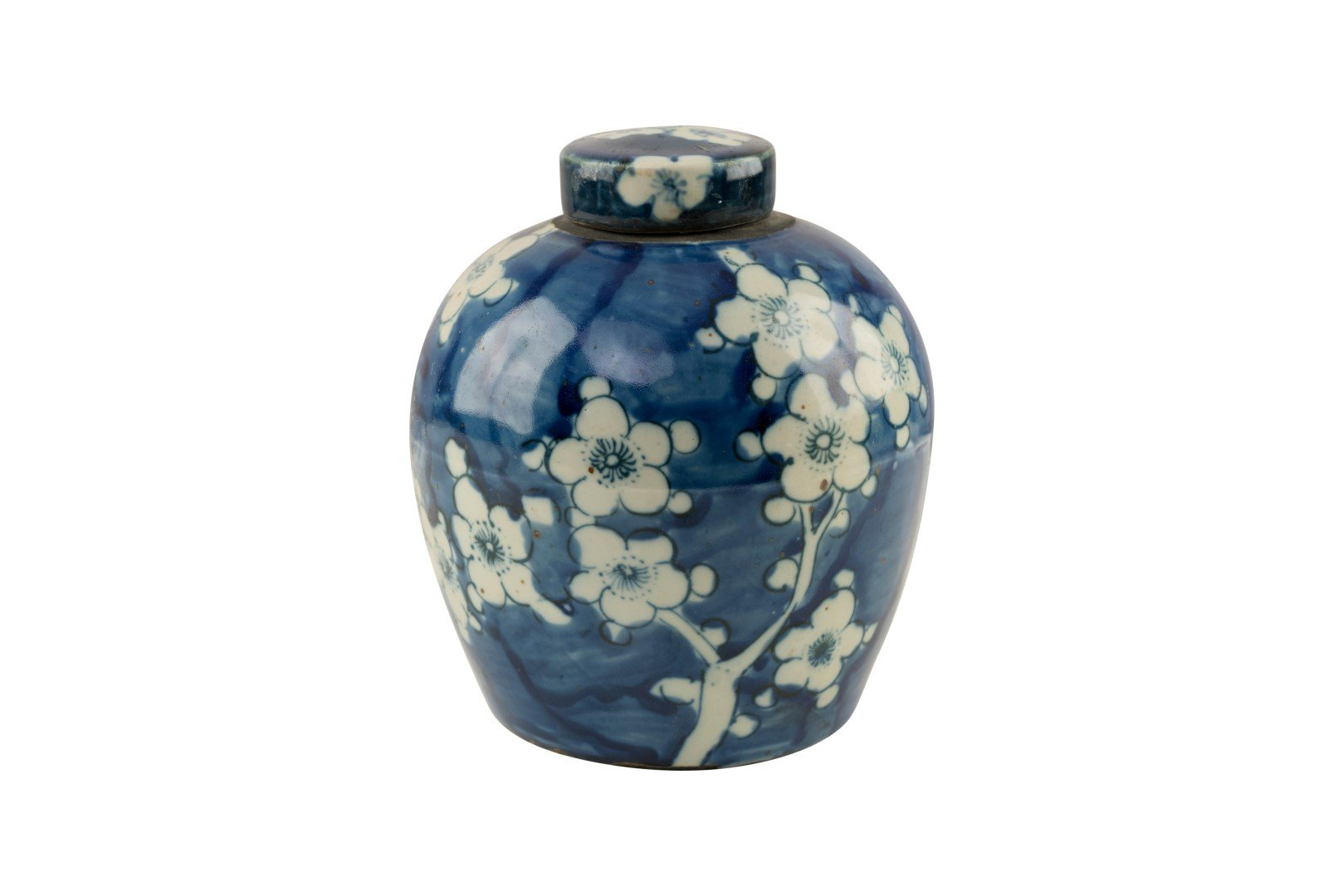 Asian Style Furnishing Reverse Blue and White Cherry Blossom Floral Porcelain Ginger Jar 6''