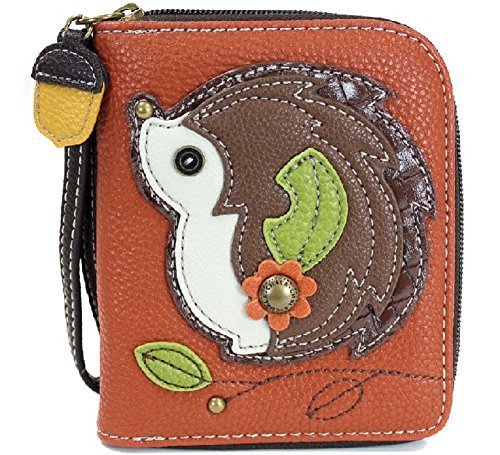 CHALA Zip Around Wallet, Wristlet, 8 Credit Card Slots, Sturdy Pu Leather - Hedgehog - Orange from CHALA