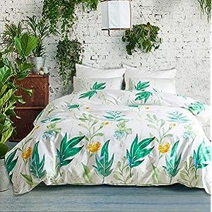 Fire Kirin Bedding Duvet Covet Set(1 Duvet Cover + 2 Pillowcases) Botanical Flowers and Green Tree Leaves Pattern Printed on White, Comforter Cover with Zipper Closure