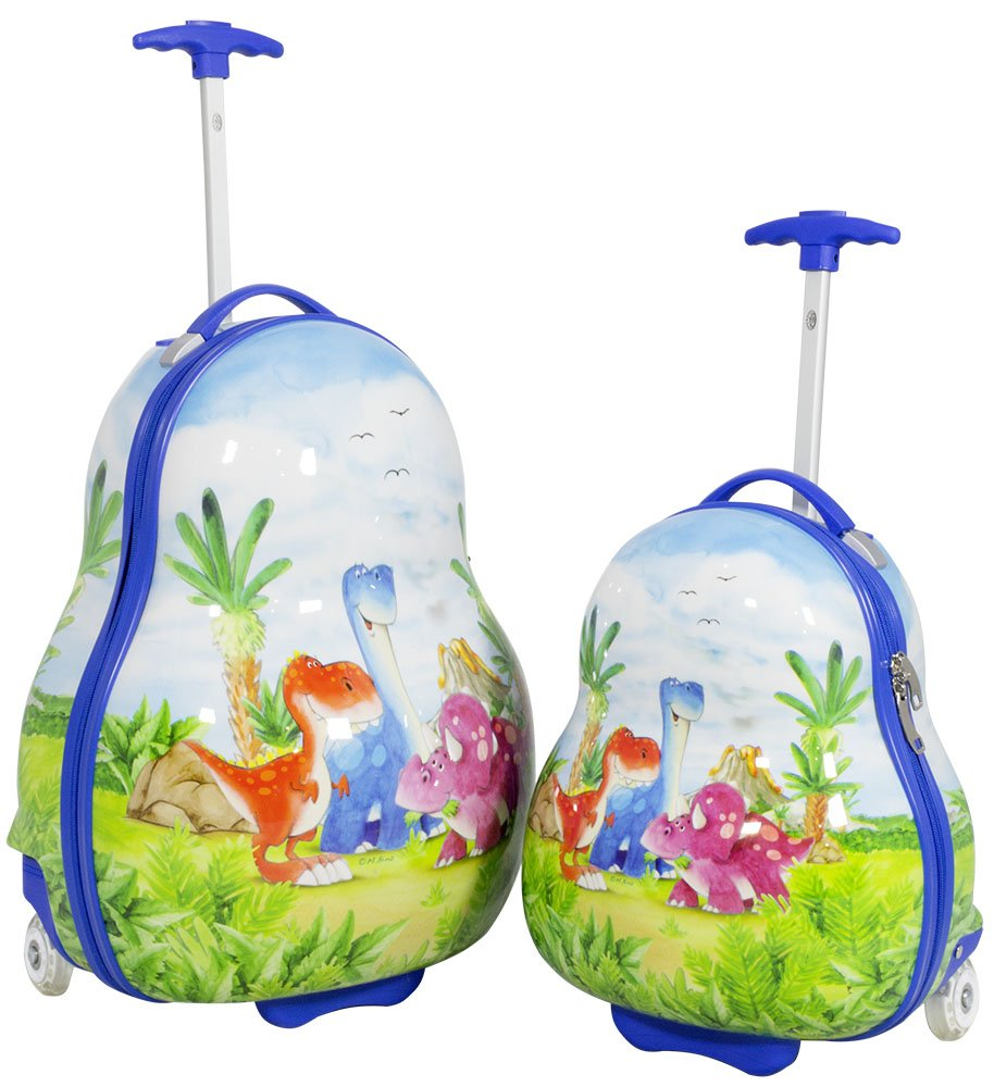 Hartschalen Kindertrolley Kinderkofferset 2 TLG Dinosaurier Blau